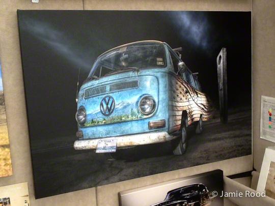 VW Bus Baby Blue - Travel Spirit on Canvas